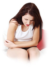 Woman experience lower abdominal pain